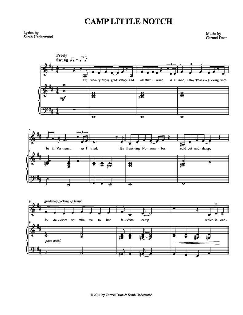 Camp Little Notch | newmusicaltheatre.com | Sheet Music