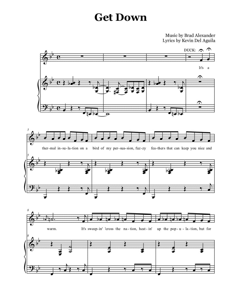 Get Down (Bb) | newmusicaltheatre.com | Sheet Music