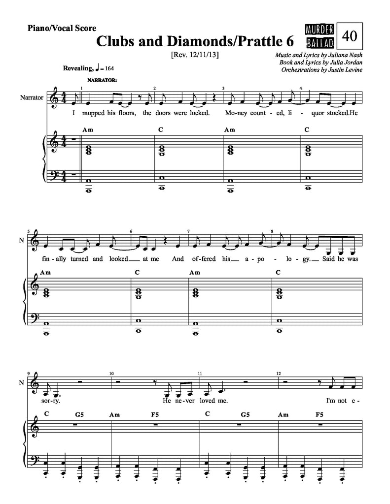 Clubs and Diamonds / Prattle 6 | newmusicaltheatre.com | Sheet Music