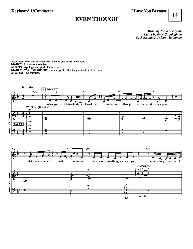 Even Though | I Love You Because | newmusicaltheatre.com | Sheet Music