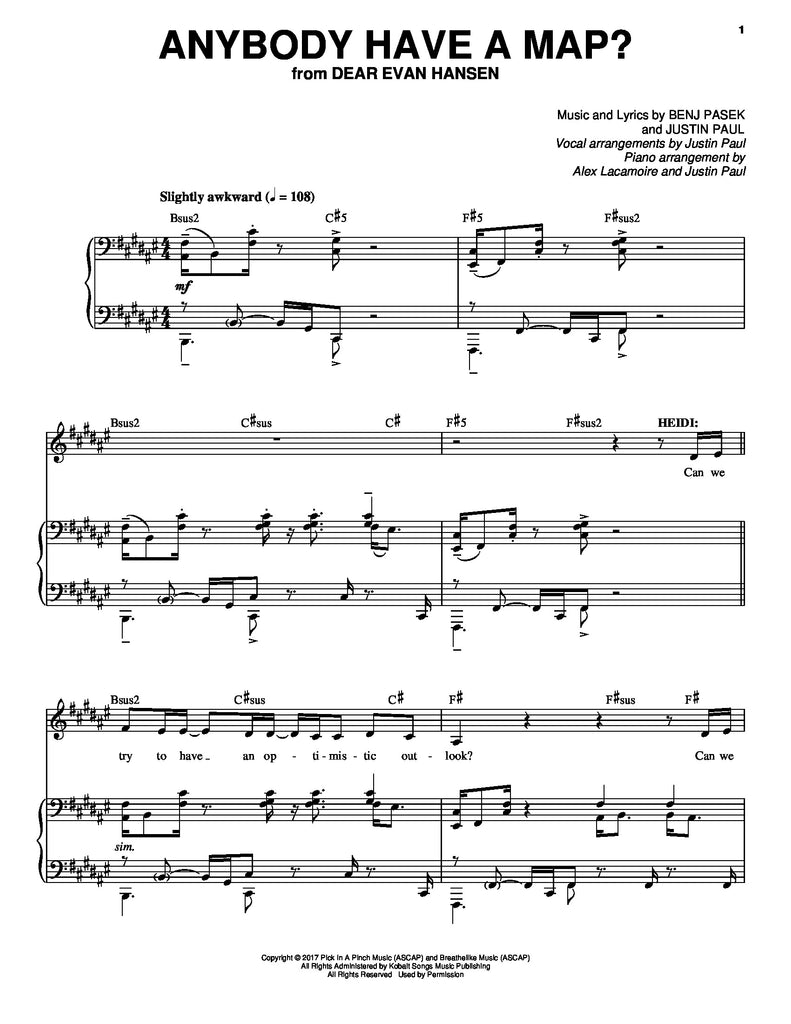 Anybody Have a Map? | newmusicaltheatre.com | Sheet Music