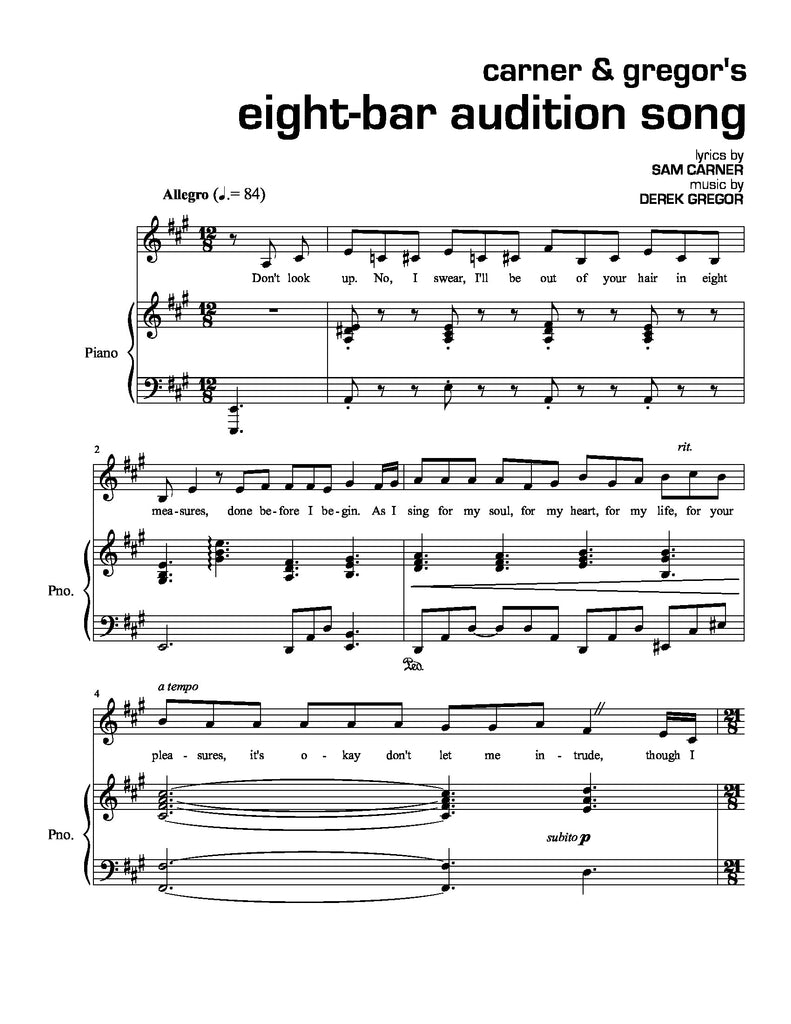 Carner & Gregor's Eight Bar Audition Song