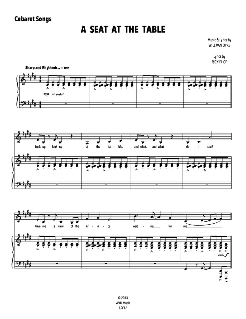 A Seat At The Table | newmusicaltheatre.com | Sheet Music