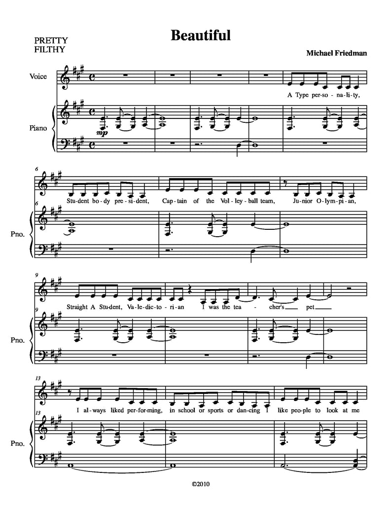 Beautiful | newmusicaltheatre.com | Sheet Music