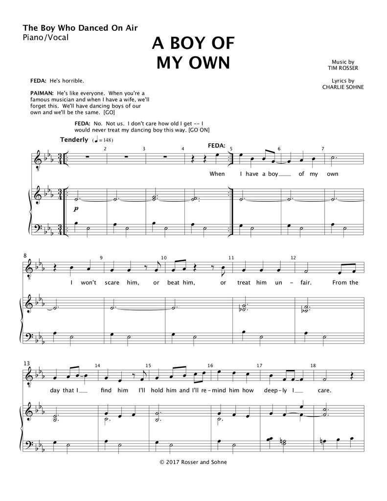 A Boy of My Own | newmusicaltheatre.com | Sheet Music