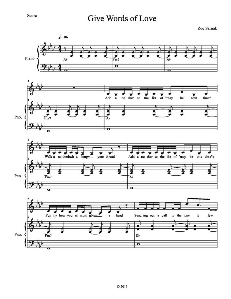 Give Words of Love | newmusicaltheatre.com | Sheet Music