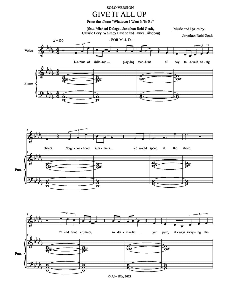 Give It All Up (SOLO VERSION) | newmusicaltheatre.com | Sheet Music