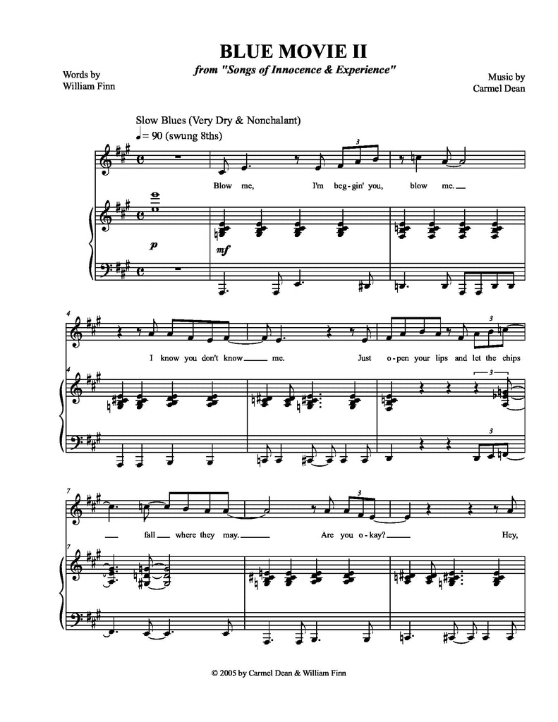 Blue Movie II | newmusicaltheatre.com | Sheet Music