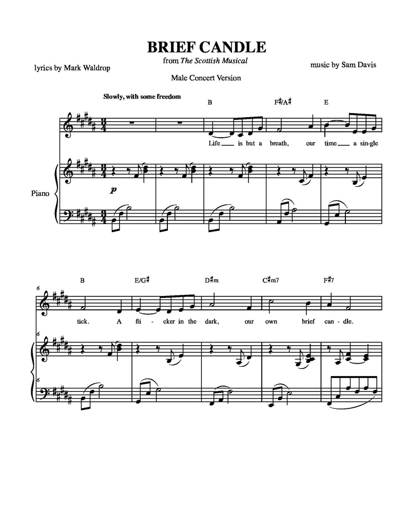 Brief Candle | newmusicaltheatre.com | Sheet Music