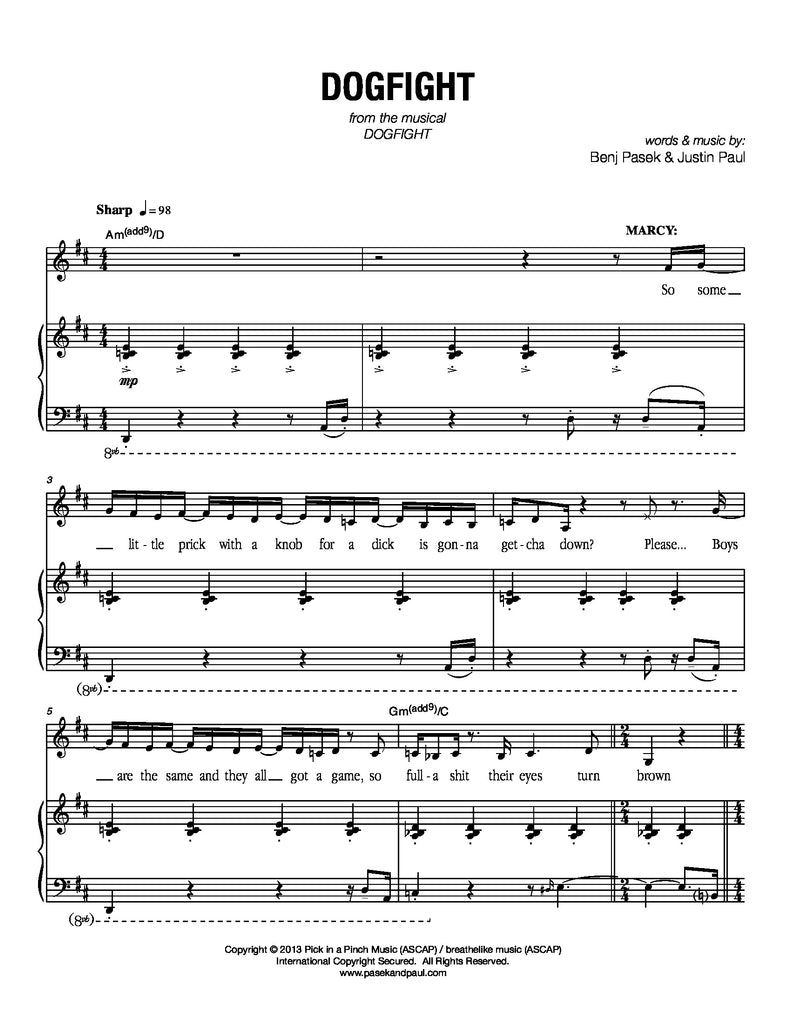Dogfight | newmusicaltheatre.com | Sheet Music