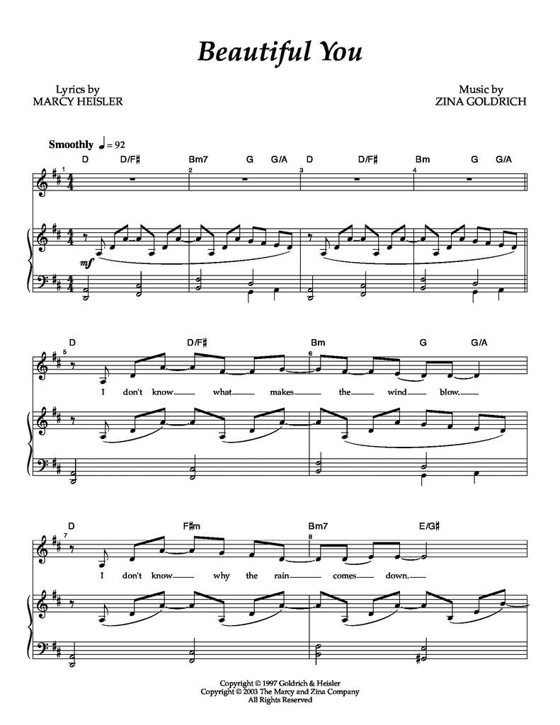 Beautiful You | newmusicaltheatre.com | Sheet Music