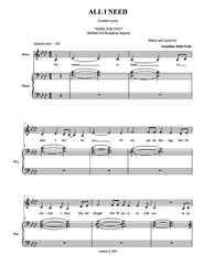 All I Need | newmusicaltheatre.com | Sheet Music