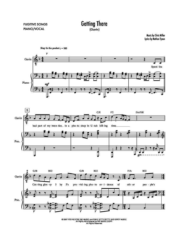 Getting There | newmusicaltheatre.com | Sheet Music
