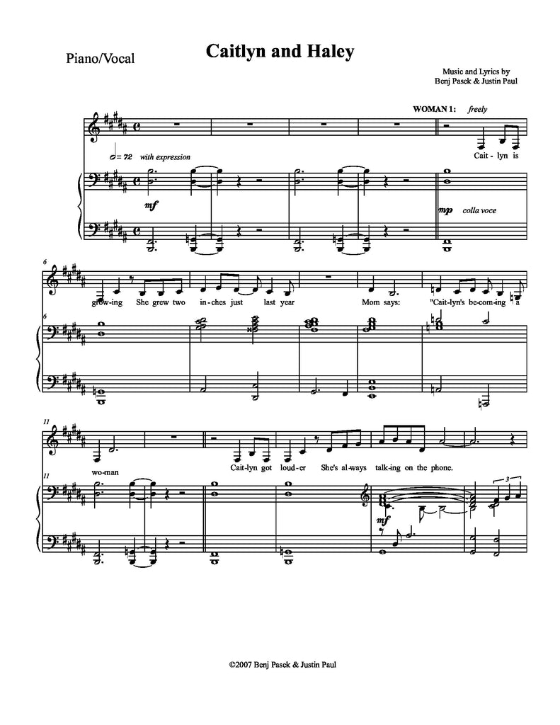 Caitlyn and Haley | newmusicaltheatre.com | Sheet Music
