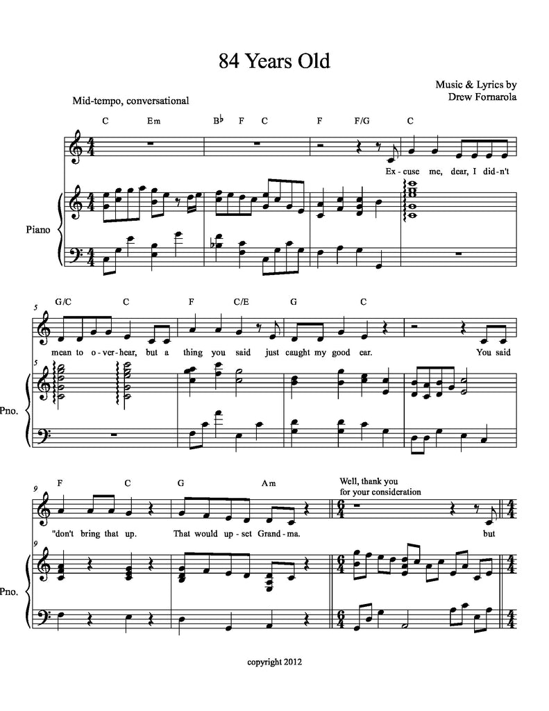 84 Years Old | newmusicaltheatre.com | Sheet Music