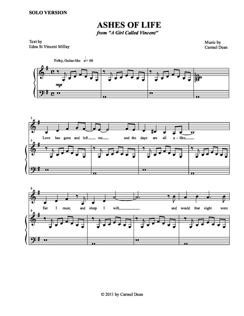 Ashes of Life (Solo Version) | newmusicaltheatre.com | Sheet Music
