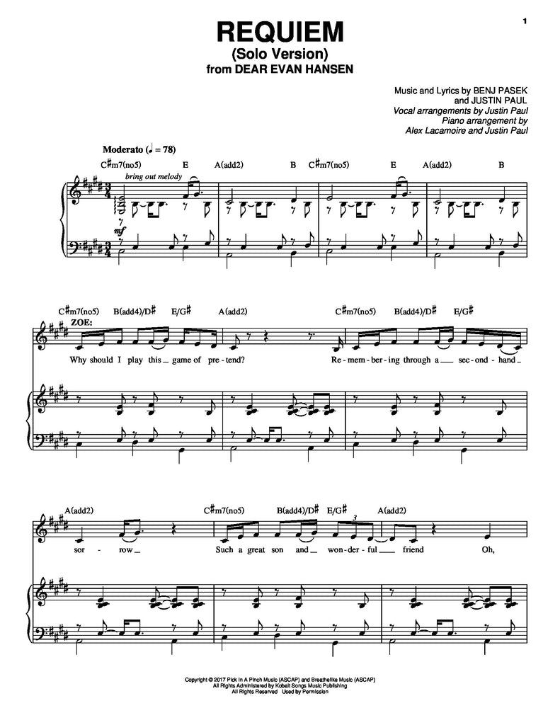 picture regarding Free Printable Broadway Sheet Music named Requiem - solo variation