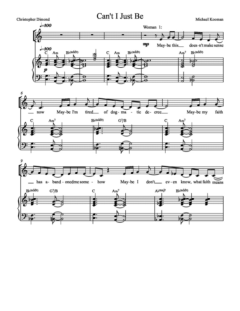 Can't I Just Be | newmusicaltheatre.com | Sheet Music