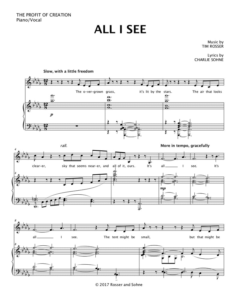 All I See | newmusicaltheatre.com | Sheet Music