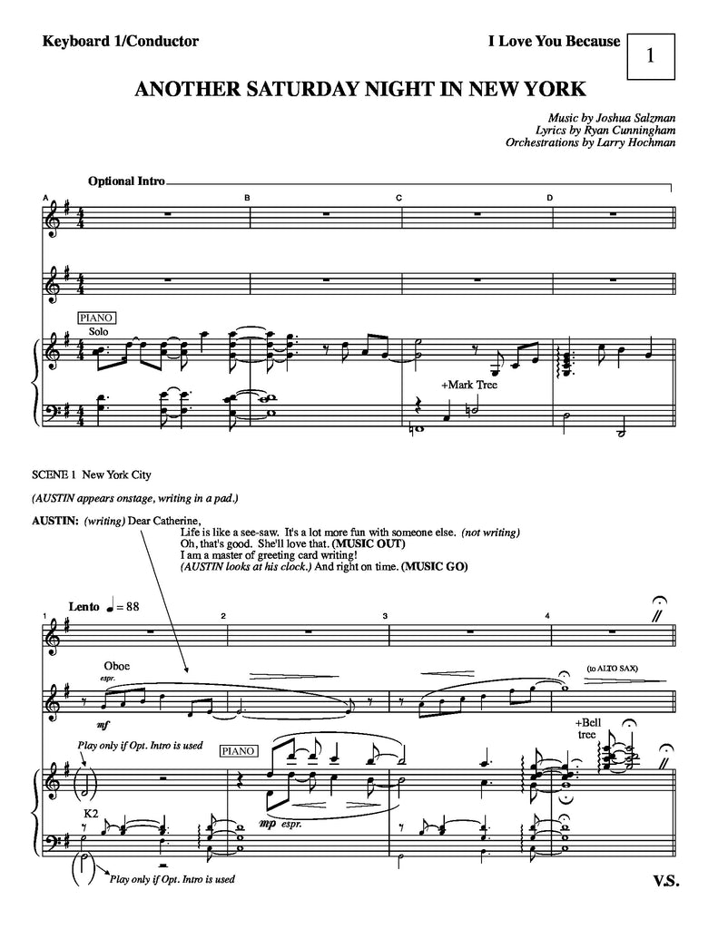 Another Saturday Night In New York | newmusicaltheatre.com | Sheet Music