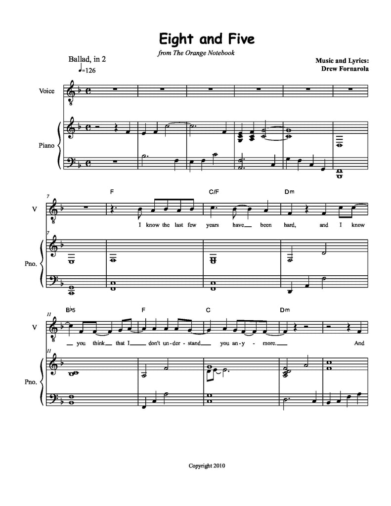 Eight and Five | newmusicaltheatre.com | Sheet Music
