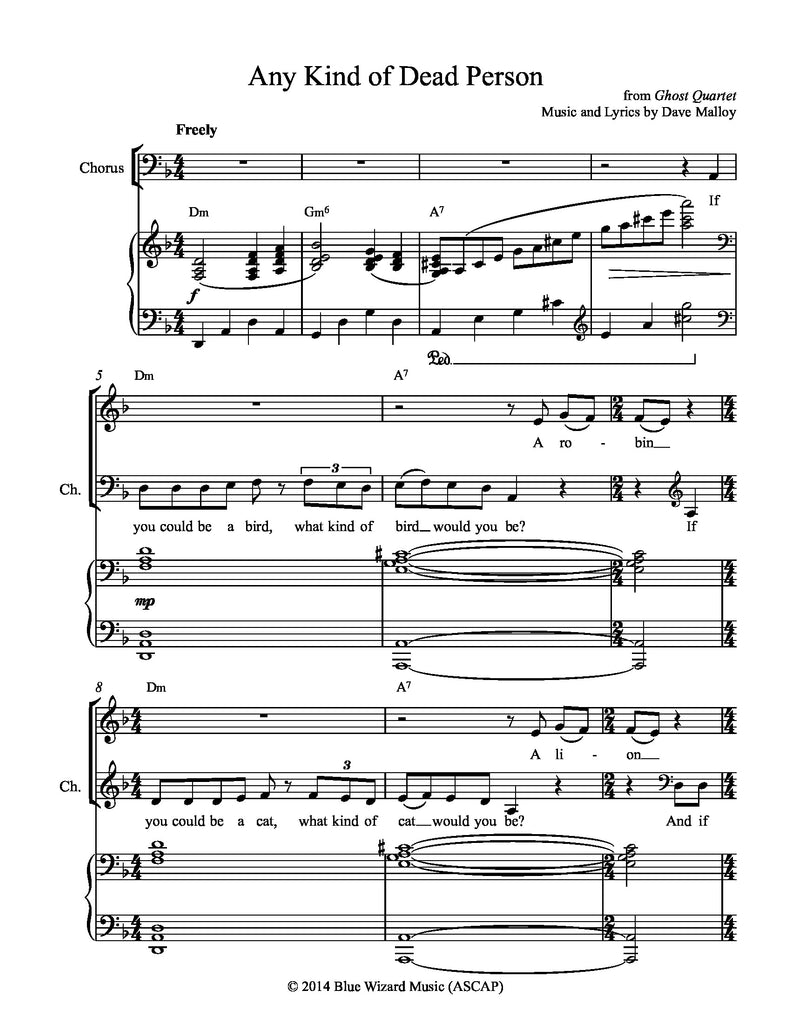 Any Kind of Dead Person | newmusicaltheatre.com | Sheet Music