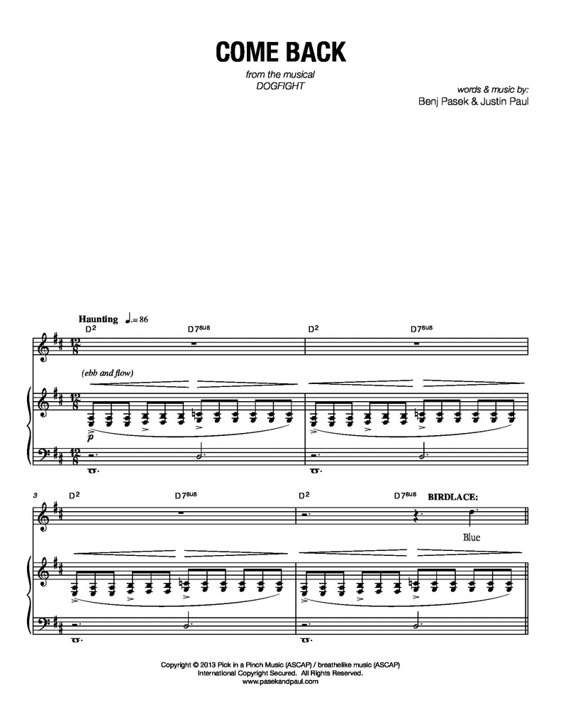 Come Back | Dogfight | newmusicaltheatre.com | Sheet Music