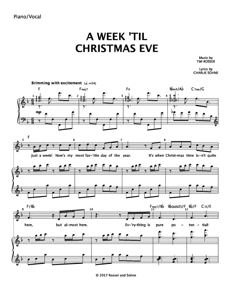 A Week 'Til Christmas Eve | newmusicaltheatre.com | Sheet Music
