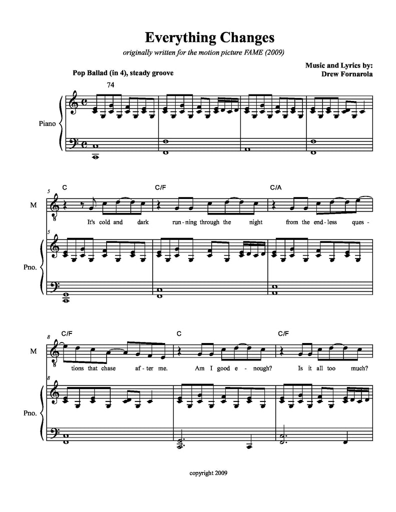 Everything Changes | newmusicaltheatre.com | Sheet Music