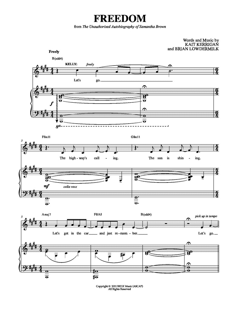 Freedom | newmusicaltheatre.com | Sheet Music