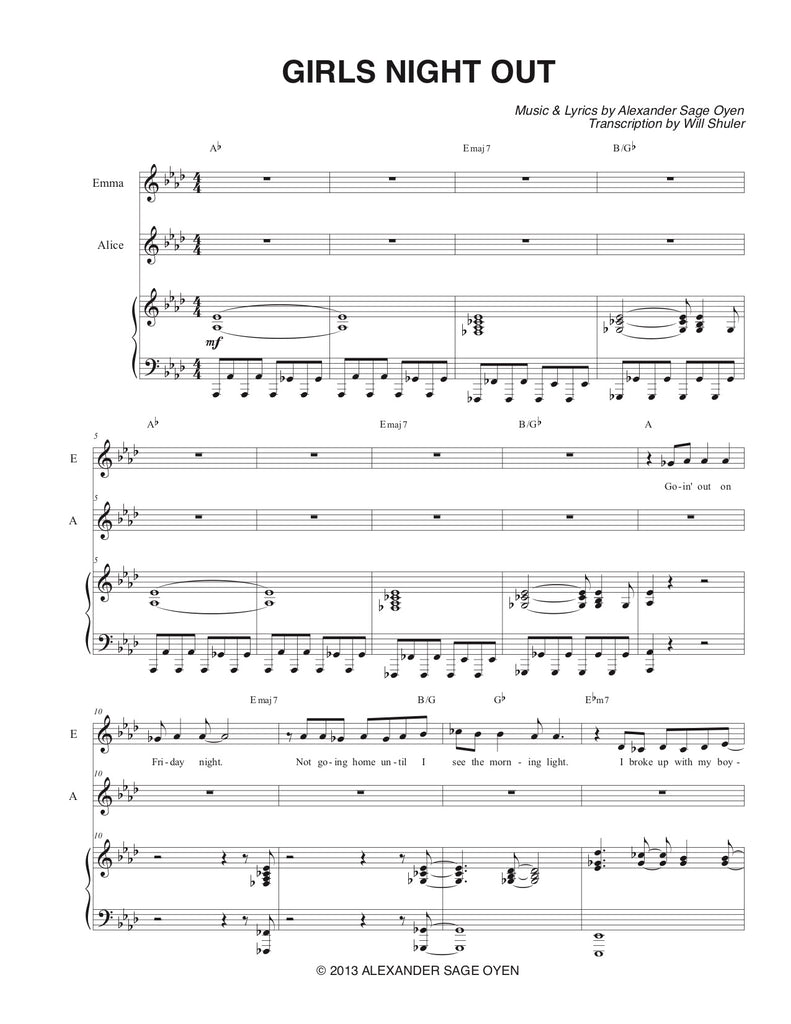 Girl's Night Out (GNO) | newmusicaltheatre.com | Sheet Music