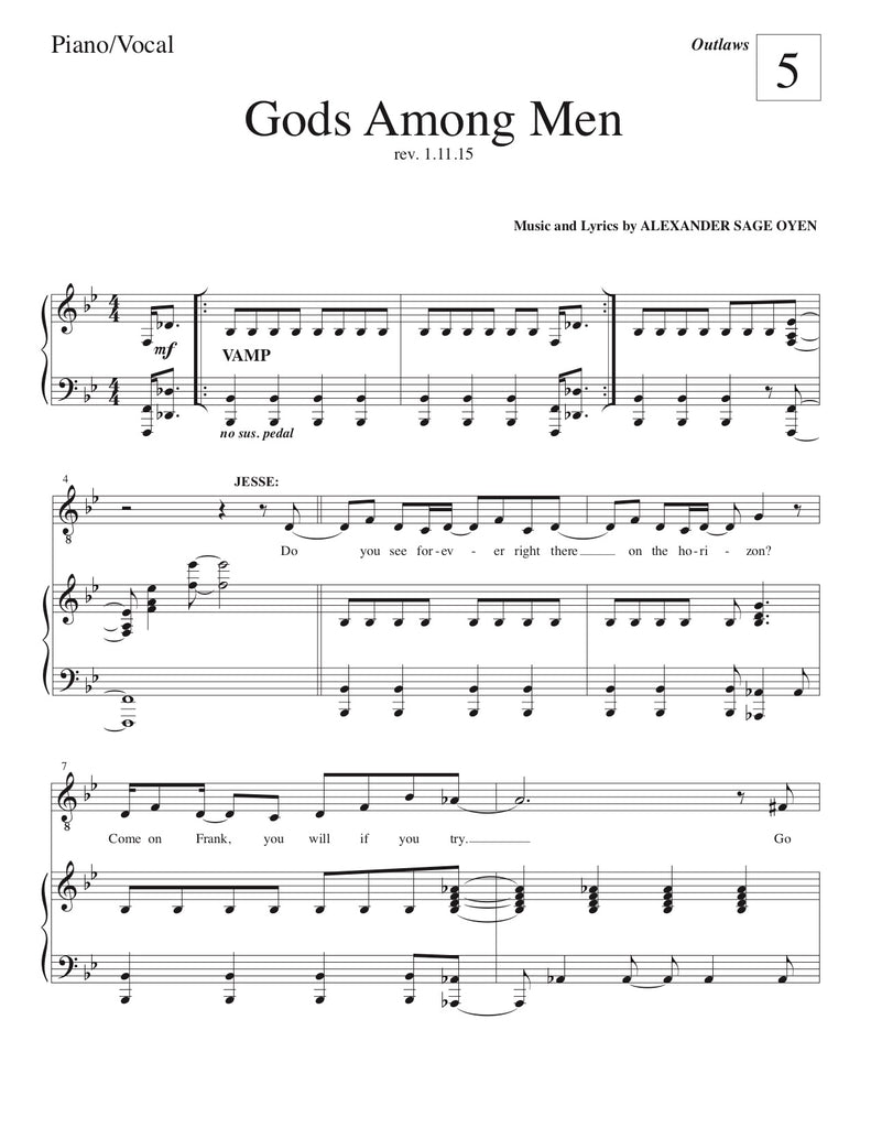 Gods Among Men | newmusicaltheatre.com | Sheet Music