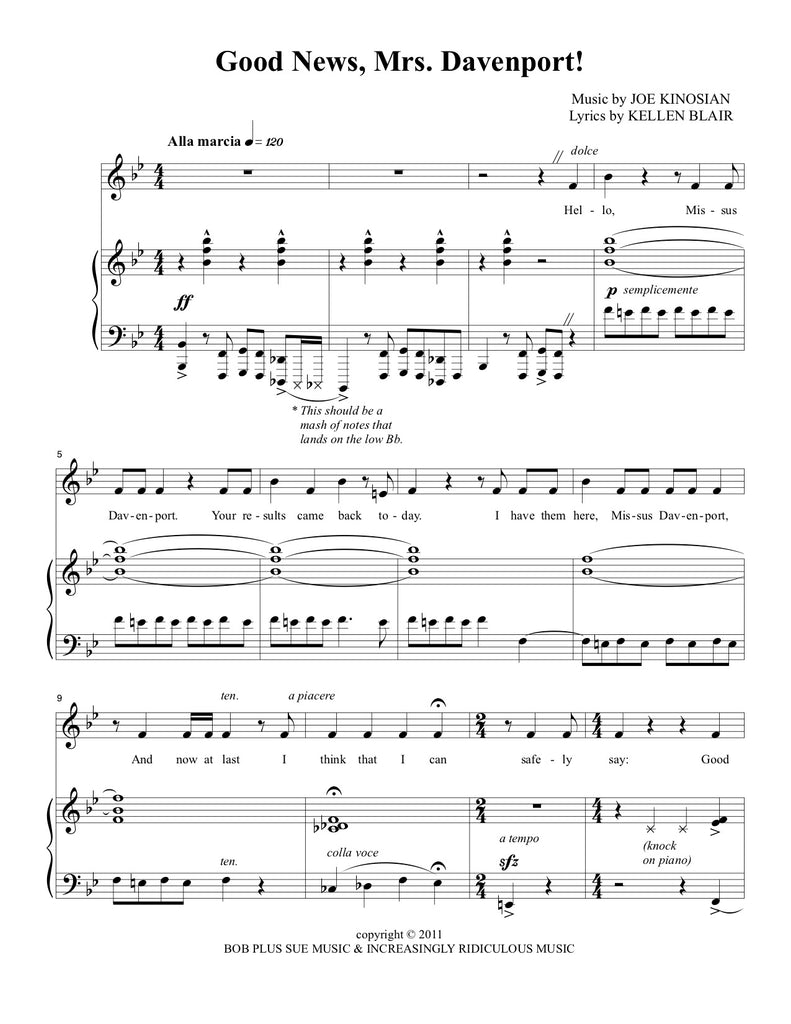 Good News, Mrs. Davenport! | newmusicaltheatre.com | Sheet Music