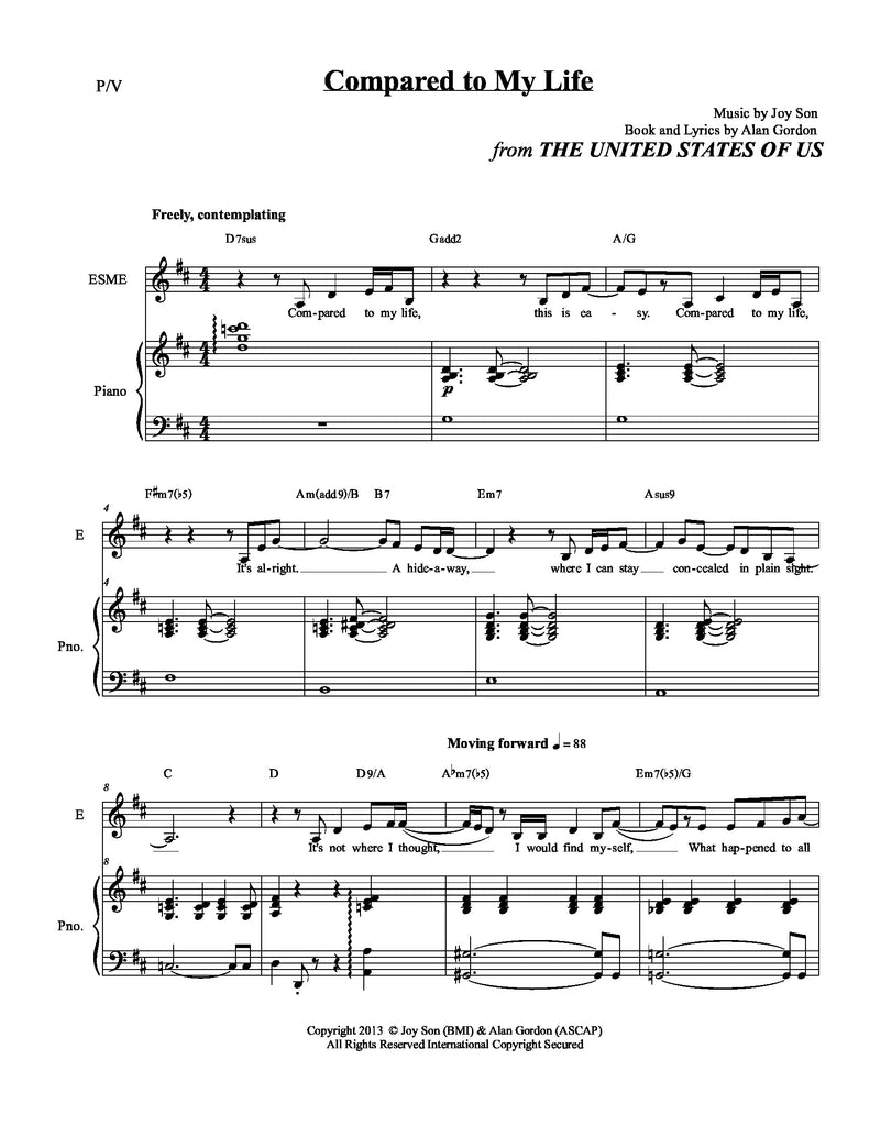 Compared To My Life | newmusicaltheatre.com | Sheet Music
