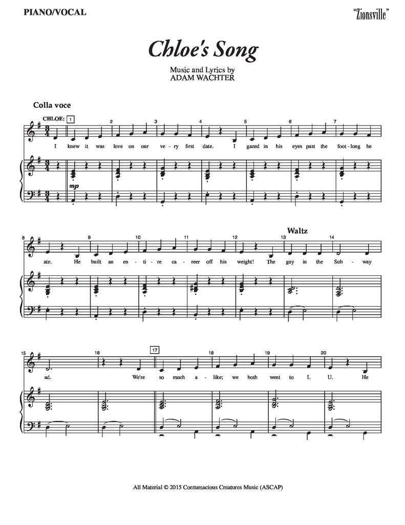 Chloe's Song | newmusicaltheatre.com | Sheet Music