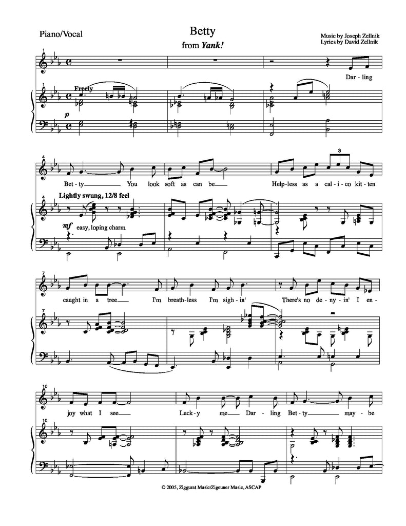 Betty | newmusicaltheatre.com | Sheet Music