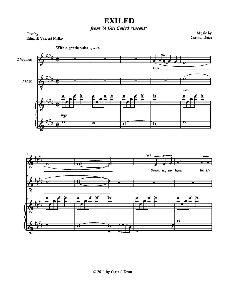 Exiled | A Girl Called Vincent | newmusicaltheatre.com | Sheet Music