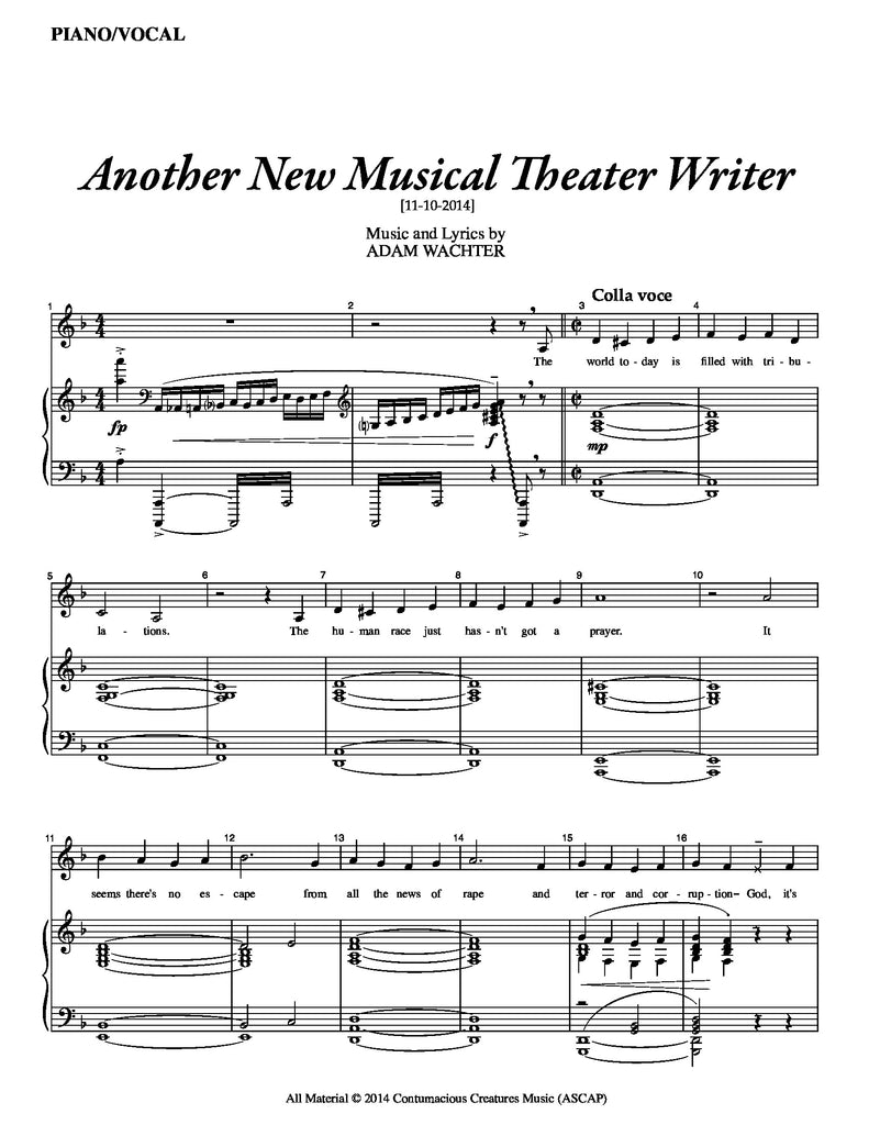 Another New Musical Theater Writer | newmusicaltheatre.com | Sheet Music