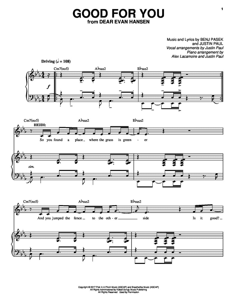 Good For You | newmusicaltheatre.com | Sheet Music
