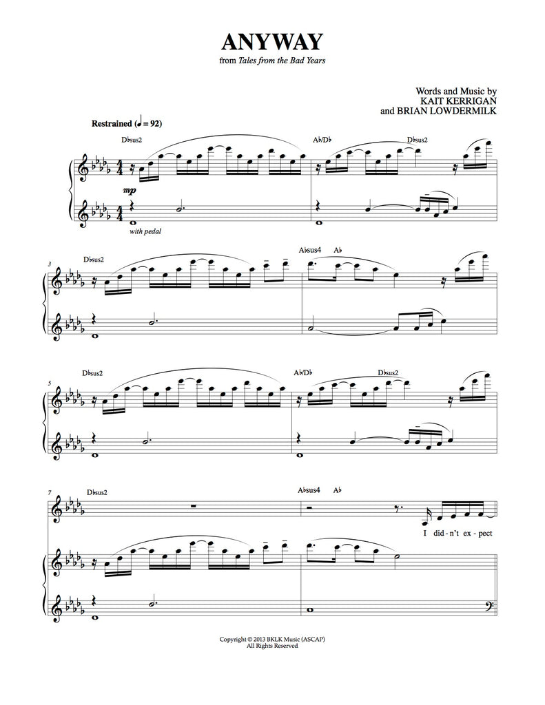 Anyway | newmusicaltheatre.com | Sheet Music