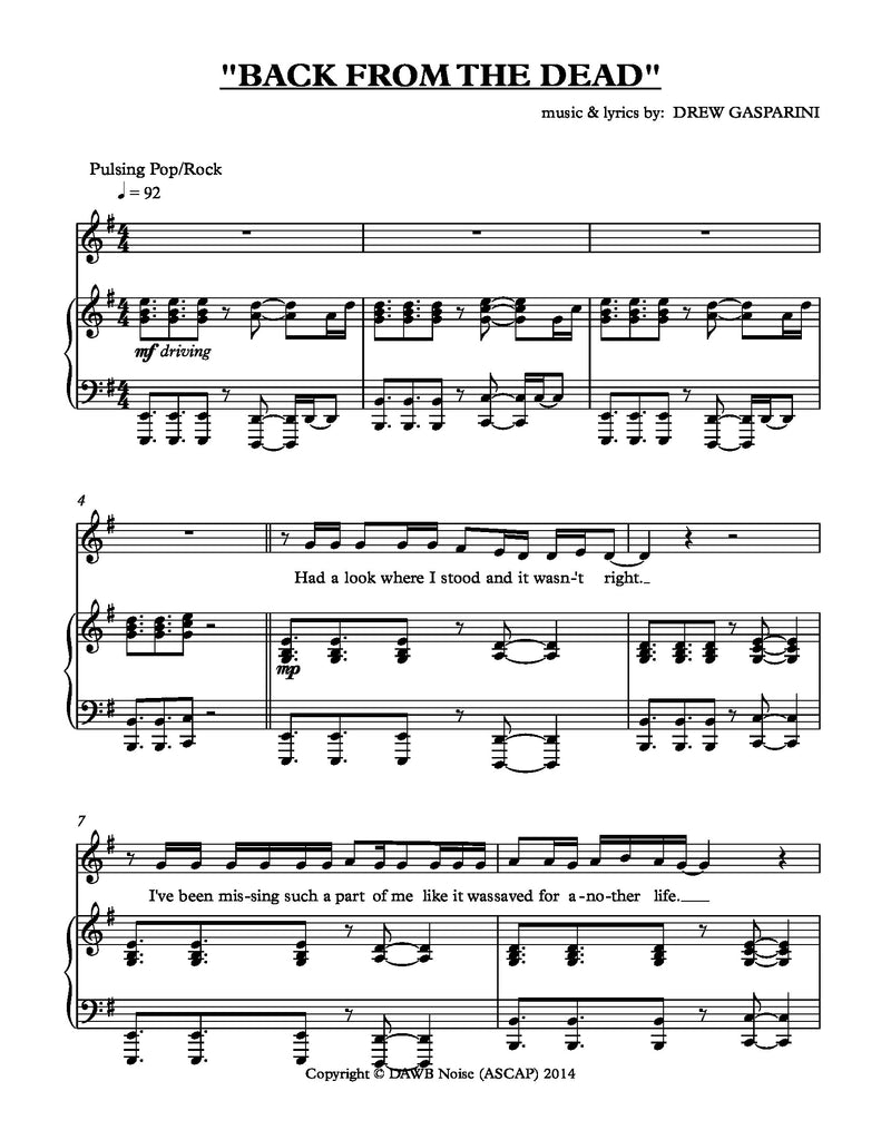 Back From The Dead | newmusicaltheatre.com | Sheet Music