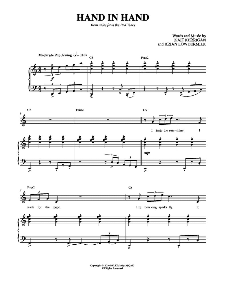 Hand In Hand | newmusicaltheatre.com | Sheet Music