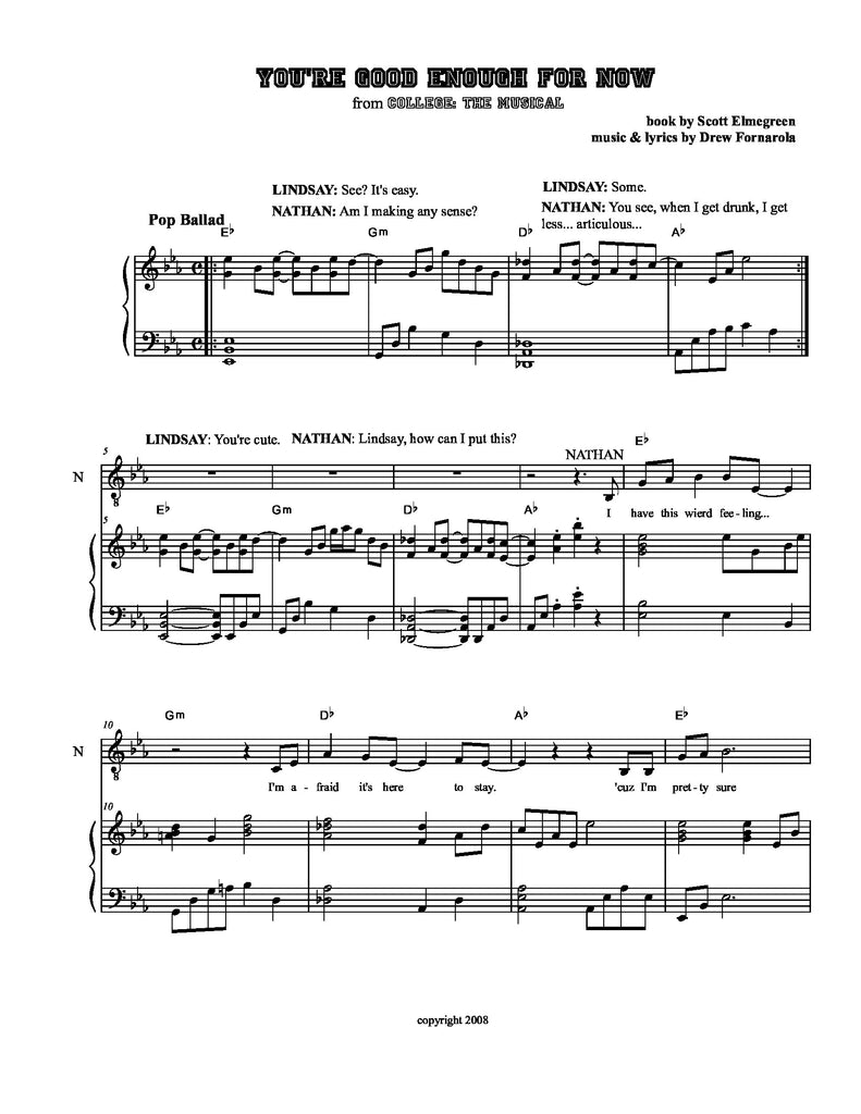 Good Enough for Now | newmusicaltheatre.com | Sheet Music