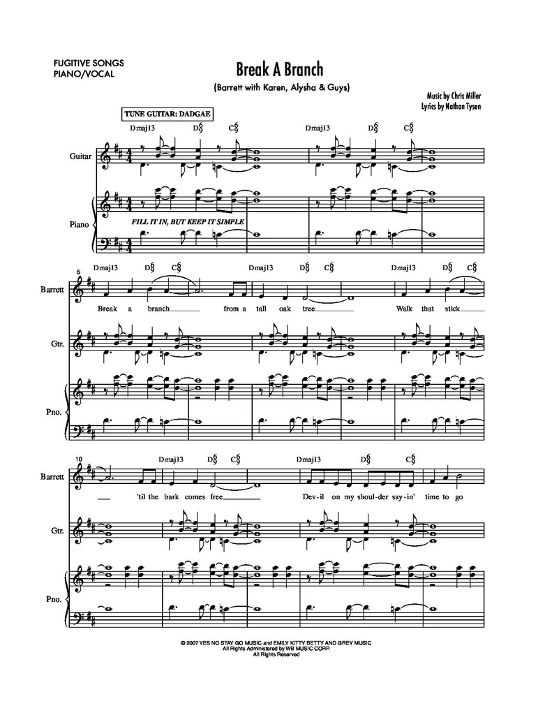 Break a Branch | newmusicaltheatre.com | Sheet Music