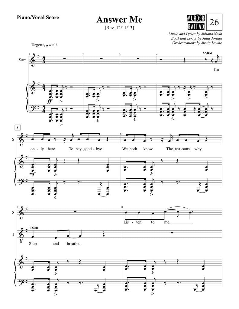 Answer Me | newmusicaltheatre.com | Sheet Music