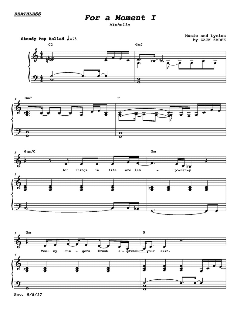 For A Moment I | newmusicaltheatre.com | Sheet Music