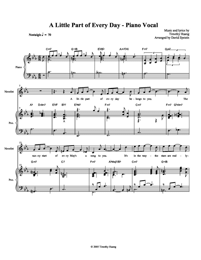 A Little Part of Every Day - Piano Vocal | newmusicaltheatre.com | Sheet Music