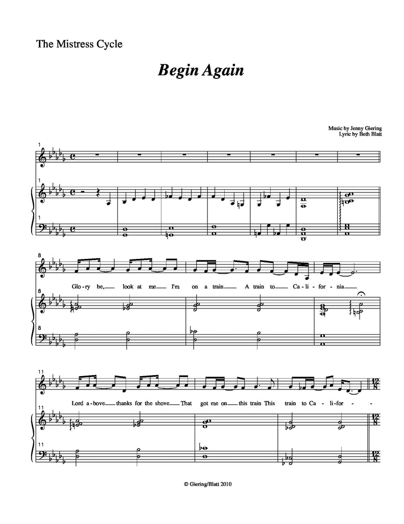 Begin Again | newmusicaltheatre.com | Sheet Music