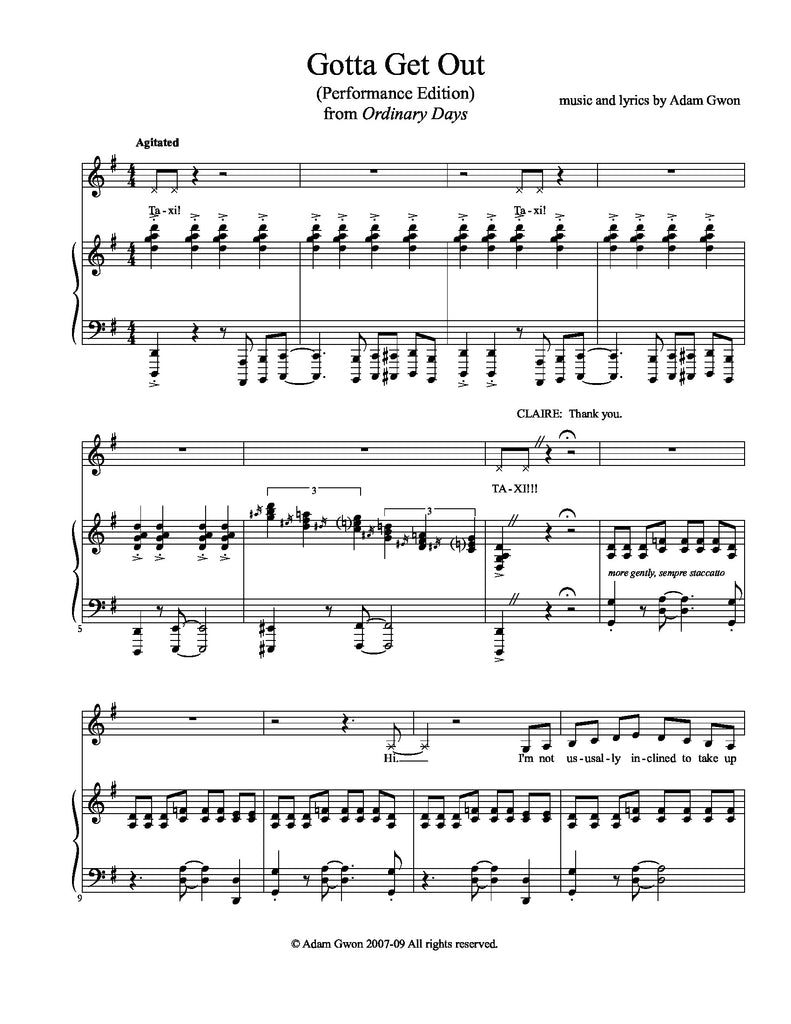 Gotta Get Out | newmusicaltheatre.com | Sheet Music