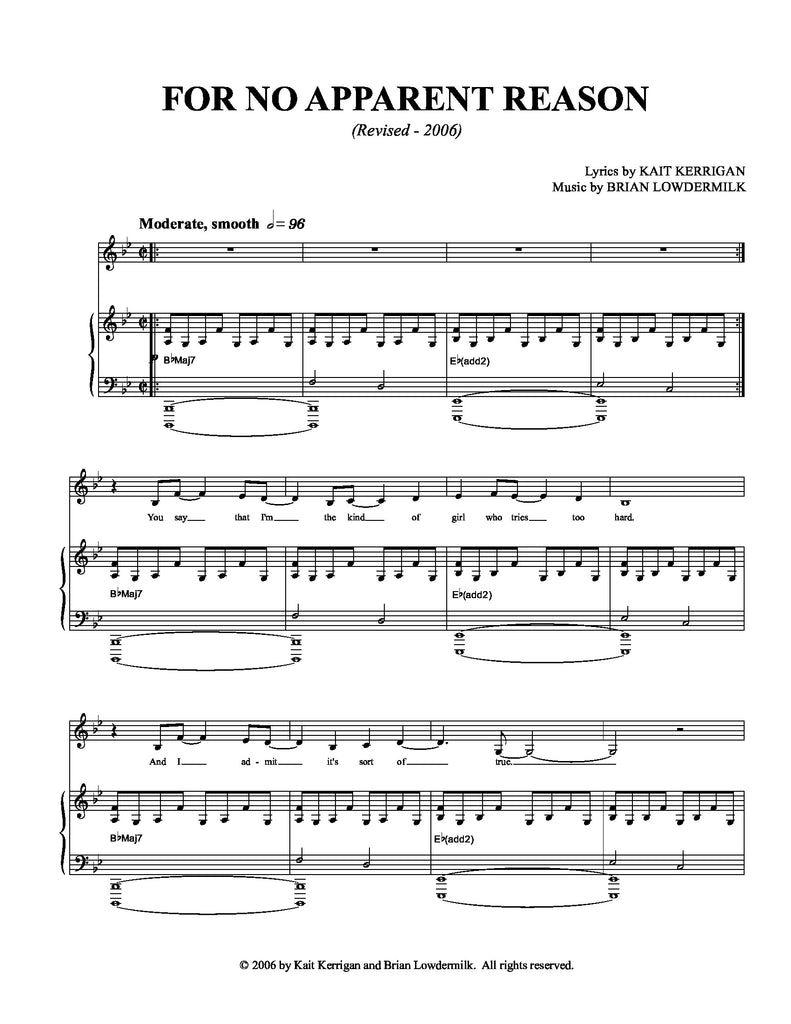 For No Apparent Reason | newmusicaltheatre.com | Sheet Music